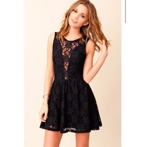 For Love And Lemons Lace Dit Flare Black Dress S
